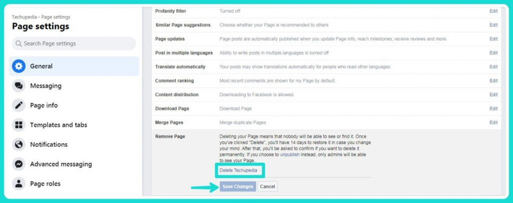 How to Hide or Delete a Facebook Page